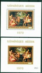 1970 Nude Painting,diana And Callisto By Janssens/budapest,hungary,bl.76 A+b,mnh