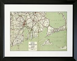 Framed 1917 Cape Cod And Rhode Island Map 16x20 Art Print Poster