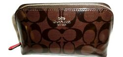 Coach Cosmetic Zip Around Purse Bag Signature Shinny Patent $47.00