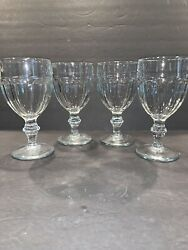 4 Vintage Libbey Gibraltar Duratuff Clear Water Goblets Glasses 6 3/4 Andldquo 11.5 Oz