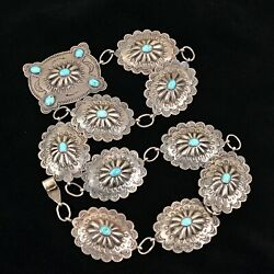 Vintage 30s Navajo Native American Silver Turquoise Concho Belt 143.7g