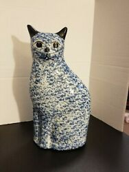 Vintage Hand Painted Blue Mottled Sponged Ceramic Cat Siamese 10quot; High