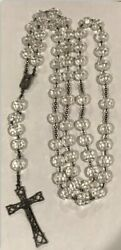 Massive Antique Art Deco Sterling Silver Italy Crystal Rosary Crucifix Necklace