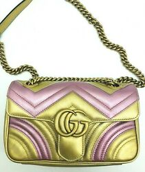 Womens Designer Gucci GG Marmont Mini Quilted Metallic Leather Shoulder Bag $1,307.19