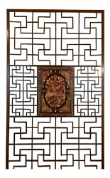 A Large Chinese Red And Black Lacquered Latticed Wall Screen Or Room Partitionandnbsp