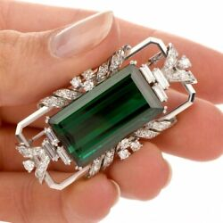 925 Sterling Silver Cz Brooch Pin Green Emerald Cut Vintage Look New Party Gift