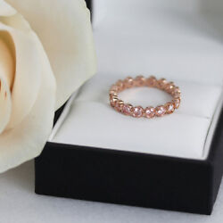 2.00 Ct Real Diamond Wedding Eternity Band 14k Solid Rose Gold Ring Size 7 6.5 4