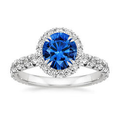 2.15 Carat Natural Blue Sapphire Diamond 14k Solid White Gold Engagement Rings