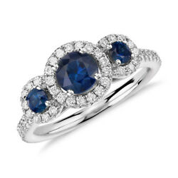 1.70 Ct Natural Diamond Round Cut Blue Sapphire Rings 14k White Gold Size 5 6 7