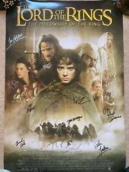 Lord Of The Rings - Fellowship Of The Ring Signed Poster 17 Cast Members - Coa