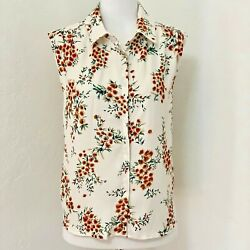 Womens Large Nordstrom Rack Code X Mode Ivory Button front Floral TopBlouse New $16.00