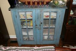 Antique Pie Safe With Metal Screen Old Colonial Blue Paint And Square Nails