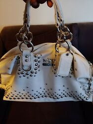 COACH Satchel Studded Rivets Studs Bag White Silver Bag Purse $85.00