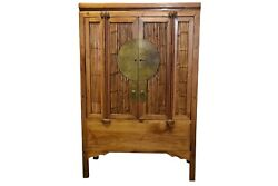 """A 19th Century Chinese Ming Style Elm Wood And Bamboo """"wedding Cabinet"""""""