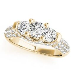 1.36 Ct Real Diamond Wedding Rings 14k Solid Yellow Gold Ring Size 4 5 6 7 5.5 8