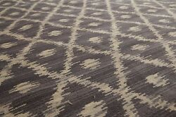 9' X 12' Hand Knotted Oriental Area Rug Wool Full Pile Modern Ikat Gray 9x12 Ft