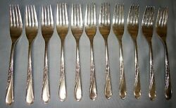 Set Of 12 Wm Rogers And Son Spring Flower Silverplate Cocktail Forks Is Flatware