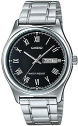 Casio Menand039s Stainless Steel Day Date Black Dial Watch Mtp-v006d-1budf