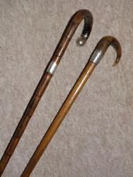 Antique Original Pair Of Walking Sticks -hm Silver Lord Nelson, Foudroyant 1897