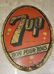 Vintage Advertising 7up Dome Shaped Sign 13 X 9 Canada