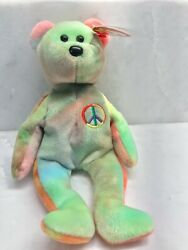 Rare Retired Ty Beanie Baby Peace Bear - A Collector Item One Of A Kind