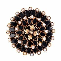 9k Victorian Onyx And Seed Pearl Mourning Brooch C1872, 15.0g, 1.5 Diameter