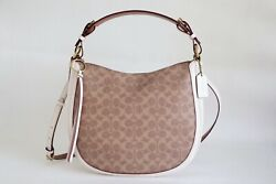 NWT COACH SUTTON SIGNATURE CANVAS AND LEATHER SHOULDER BAG TAN CHALK $165.78