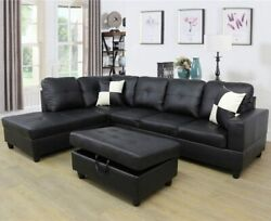 3 Piece Sectional Sofa   5 Seater   Black   Left Sided   Free Pillows  hot Sale