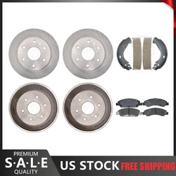 For 2007 Gmc Sierra Front Ceramic Pads And Brake Rotors + Rear Brake Drums And Shoes