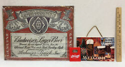 Budweiser Metal Sign, Beer Wall Hanging Welcome Plaque And Bottle Opener   Lot 3
