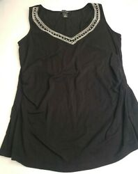 White House Black Market Size M Black Tank Top With Diamond Design On... $10.00