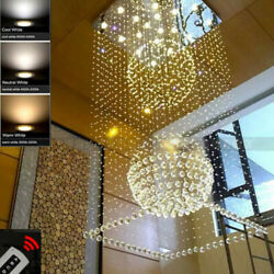 Rain Drop Chandelier Staircase Lighting Remote Dimmable Led Crystal Ceiling Lamp