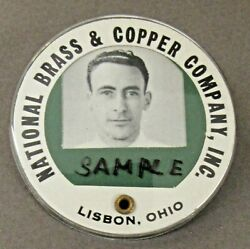 Wwii 1940s National Brass And Copper Lisbon Oh Employee Badge Pinback Home Front +
