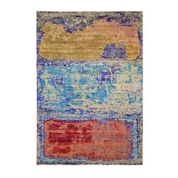 6'x8'8 Rothko Style Sari Silk With Textured Wool Hand Knotted Rug G59150