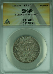 1914 Norway 2 Kroner Silver Coin Toned Anacs Ef-40 Details Wb1