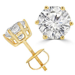 1.00 Ct Natural Diamond Women Earrings Studs Solid 18k Yellow Gold 6 Prongs Stud
