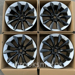 22 T-style White Staggered Wheels Rims Fits Tesla Model X 22x9 22x10
