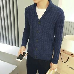 Hot Sale Mens Sweaters Cardigan Warm Cotton Button Slim Knitted Leisure Coat New