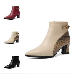 Chic Women Pointy Toe Side Zip Solid Color Block Heel Ankle Boots Big Size 34-48