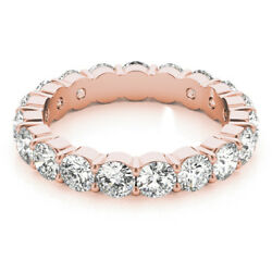 3.40 Ct Real Diamond Engagement Eternity Band 14k Solid Rose Gold Size 5 6 7 8 9