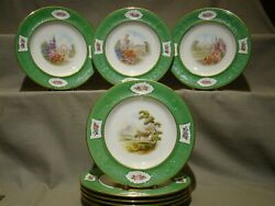 Set Eight Spode Copeland's China Artist Signed Hand Painted Landscape 9 Plates