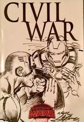 Civil War 1 Blank Cover Variant Sketched And Signed By Neal Adams Original Art