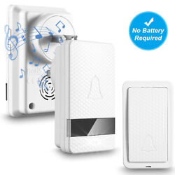 Wireless Doorbell Battery Free Operated 1 Remote Button+2 Plug In Receiver White