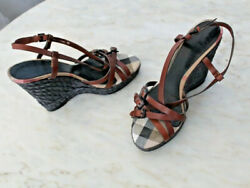 Size 41 Brown Strappy Leather Signature Check Black Espadrille Wedges🦄
