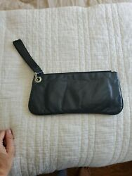 Sophia Visconti Wristlet Leather Wallet Purse Clutch Bag with Strap Black $8.99