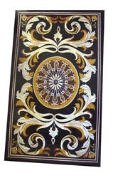 54 X 32 Marble Table Top Pietra Dura Floral Inlay Work Home Furniture