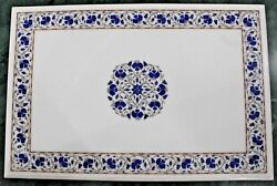 54 X 36 Marble Center Pietra Dura Table Top Marquetry Lapis Inlay Handmade