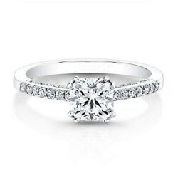 0.71 Carat Cushion Real Diamond Engagement Rings 14k Solid White Gold Size 6 7 8