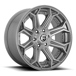 Fuel D705 Siege 22x12 8x165.1 Et-44 Brushed Gunmetal Tinted Clear Qty Of 4