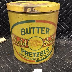 Vintage Tin Butter Rold Gold Pretzels Tin 1 1/2lbs. American Cone And Pretzel Co.